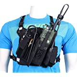ABBREE Chest Harness Front Pack Pouch Holster Vest Rig for Baofeng UV-5R BF-F8HP UV-82 TYT Ham Two Way Radio (Rescue…