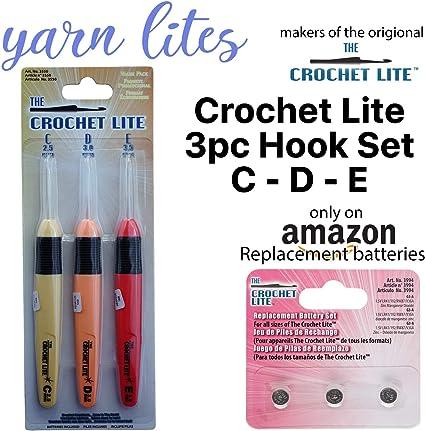 Various Sizes Light Up Crochet Lite Hook Craft Set Batteries Included Value Pack