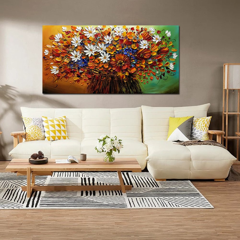 Yotree Paintings, 24x48 Inch Paintings Brilliant flowers Oil Hand Painting Painting 3D Hand-Painted On Canvas Abstract Artwork Art Wood Inside Framed Hanging Wall Decoration Abstract Painting by Yotree (Image #6)