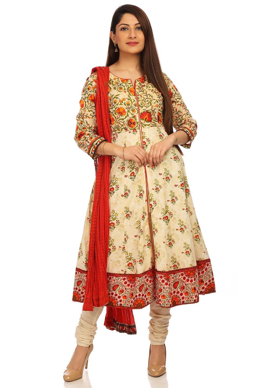 BIBA Women's Beige Front Open Cotton Suit Set Size 32