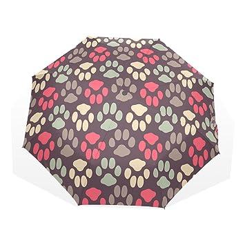 GUKENQ - Paraguas de Viaje, diseño de Huellas de Gato y Perro, Ligero,