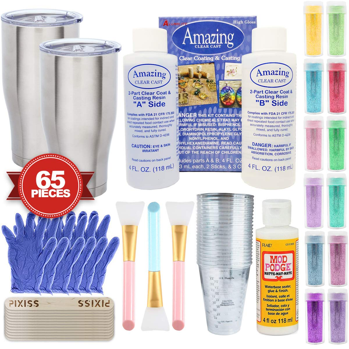 Epoxy Glitter Tumblers Kit, Includes Amazing Clear Cast Epoxy for Tumblers, Silicone Epoxy Resin Brushes, Glitter, Mod Podge by GRAS Art Bundles (Image #1)