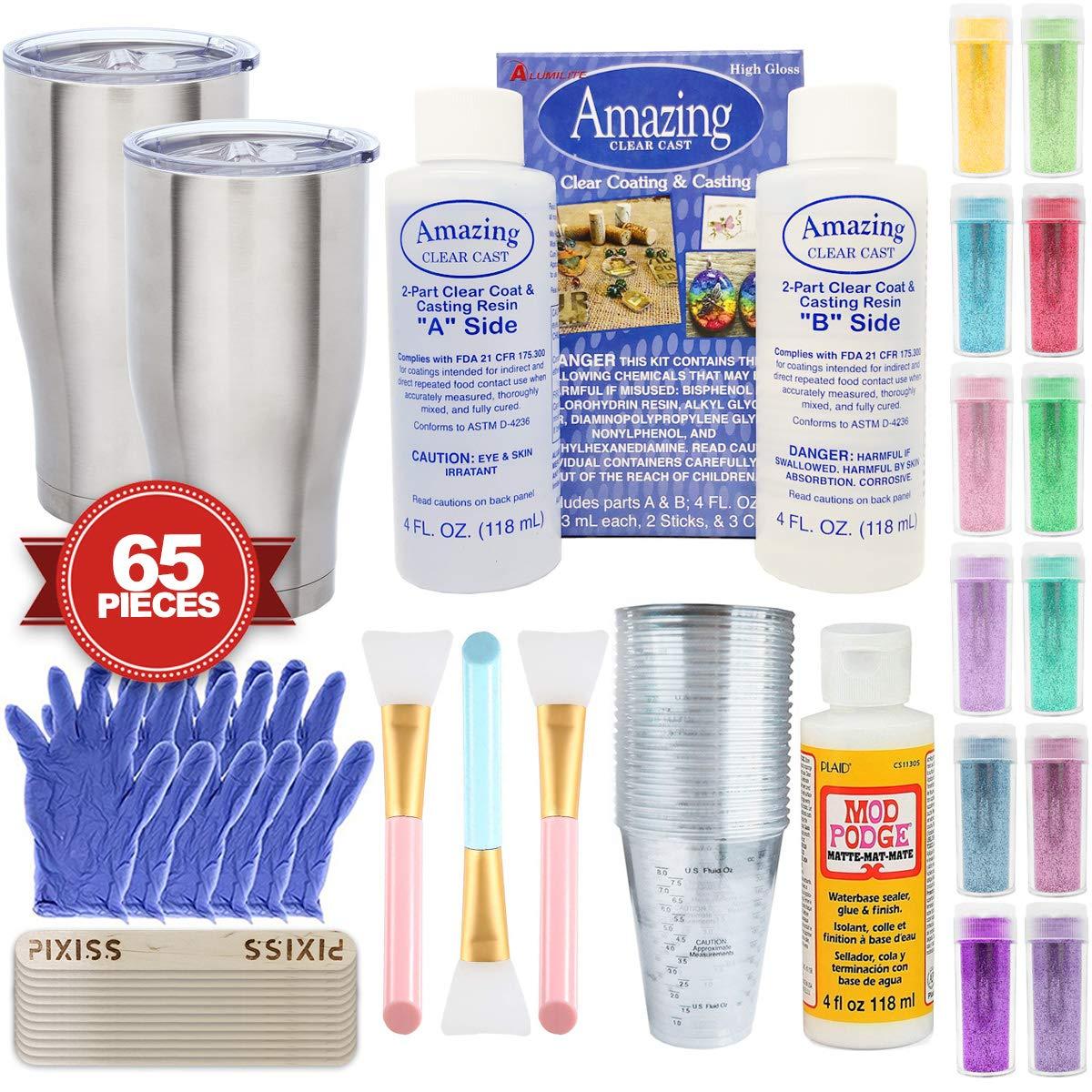 Epoxy Glitter Tumblers Kit, Includes Amazing Clear Cast Epoxy for Tumblers, Silicone Epoxy Resin Brushes, Glitter, Mod Podge