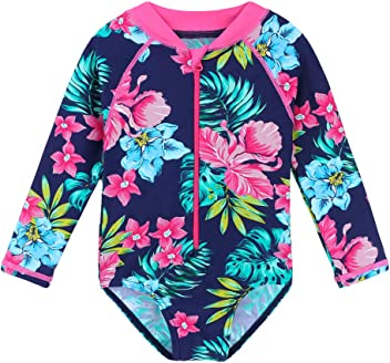 HUAANIUE Baby Toddler Girls Swimsuit Bathing Suit Rash Guards Set with Hat Flower 2-3 T Navy