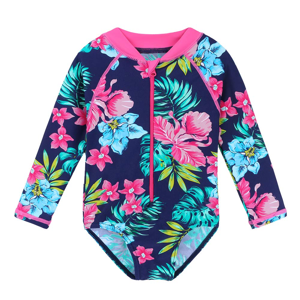 HUAANIUE Baby/Toddler Girl Swimsuit Rashguard Swimwear Long Sleeve One-Piece Navy Flower 3-4 T by HUAANIUE