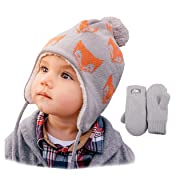 Twinklebelle Toddler Kids Winter Hat & Mittens Fleece Lined Unisex (M: 6-24 Months, Hat & Mitten Set: Fox)