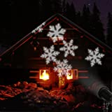 EAMBRITE LED Snowflake Projector Light Decorated Snowflake Spotlight for Holiday Christmas Wedding Party (White Snowflake Projector Light)