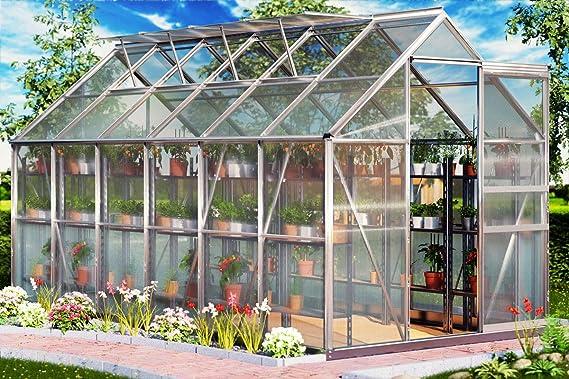 Deuba Invernadero Aluminio 11, 73m³ con Base 380x190cm Huerto para Plantas Verduras Frutas vivero de jardín Exterior: Amazon.es: Jardín