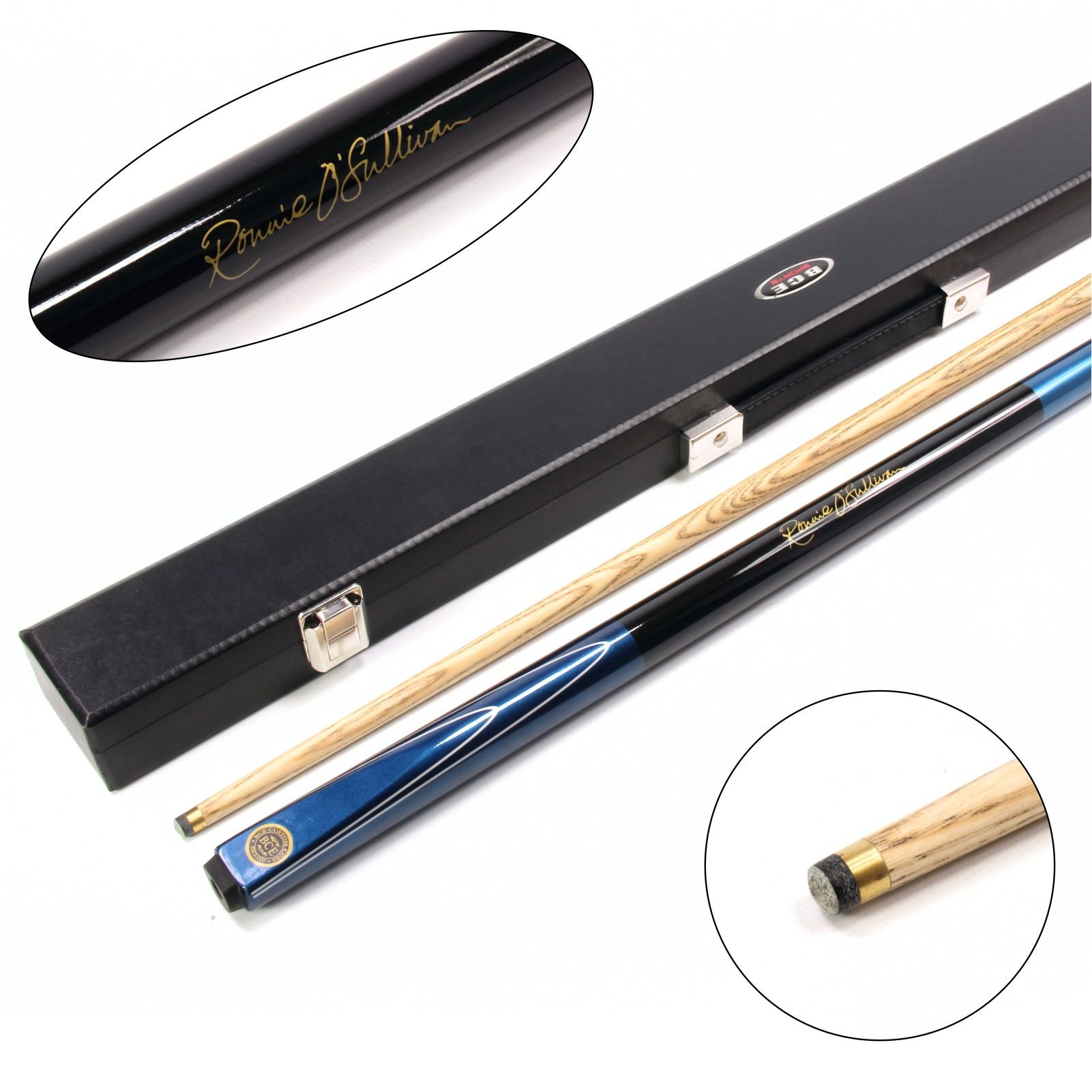 BCE Ronnie O`Sullivan MERLIN 2pc Ash Pool Snooker Cue & HARD CASE - 9.5mm Tip