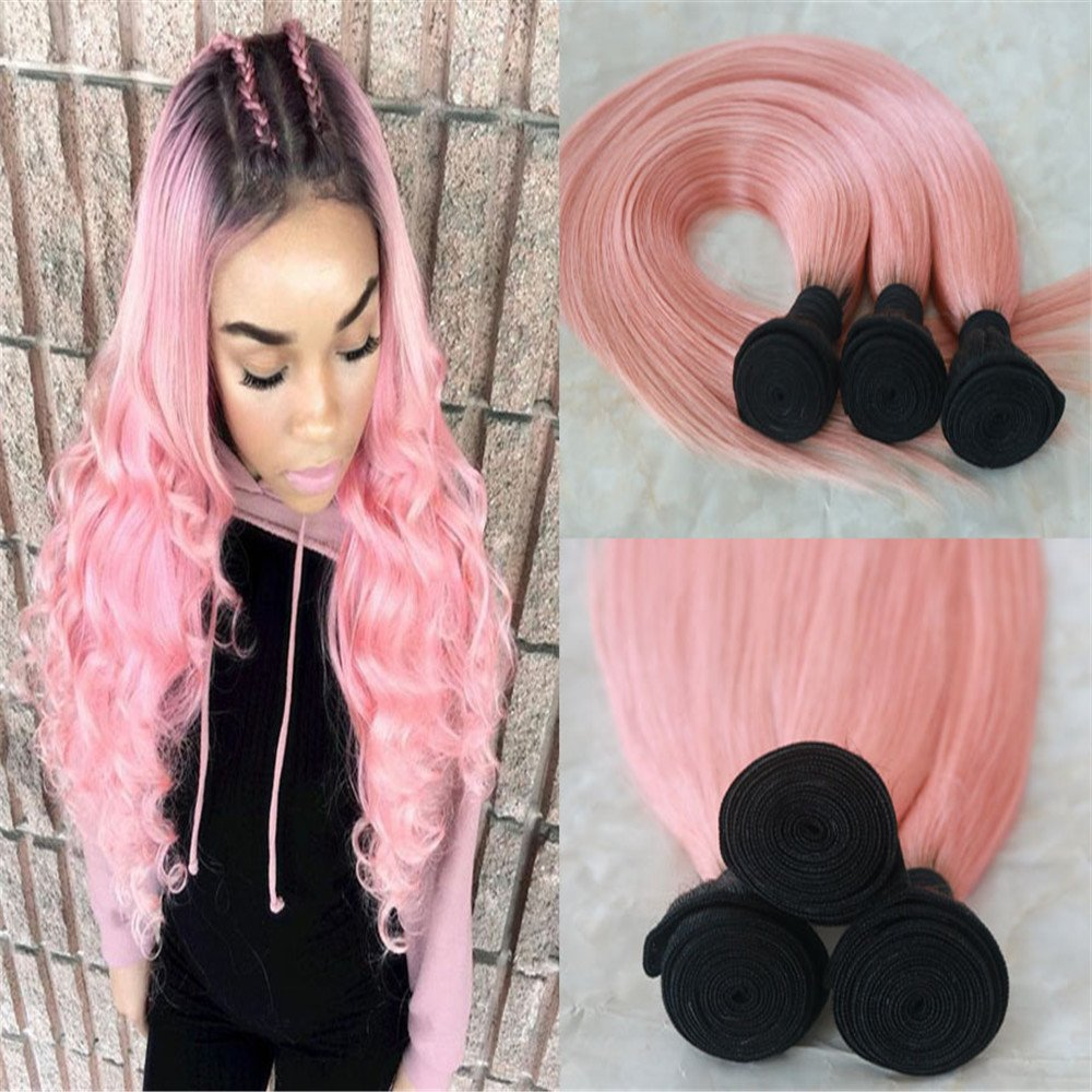 Amazon 3 Pcs Rose Gold Brazilian Ombre Straight Hair 7a Human