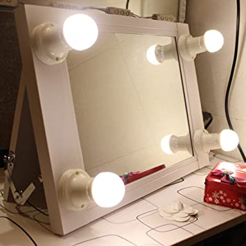 portable vanity mirror with lights. White Portable Vanity Mirror with Light Bulbs Hollywood Style Girl lighted  Makeup Professional Glow Amazon com