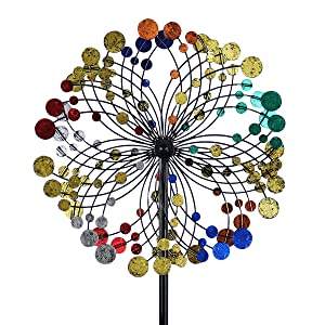 hourflik 3D Kinetic Wind Spinners with Stable Stake Metal Garden Spinner with Reflective Painting Unique Lawn Ornament Wind Mill for Outdoor Yard Lawn Garden Decorations (R018S)