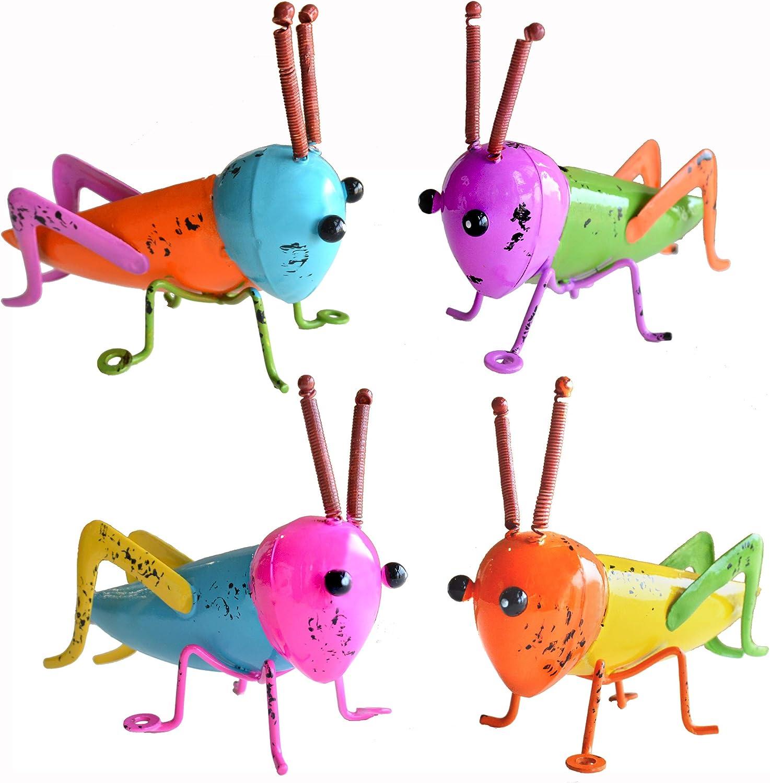 GIFTME 5 Metal Garden Grasshopper Wall Art Decorative Set of 4 Colorful Cute Locust Outdoor Wall Sculptures