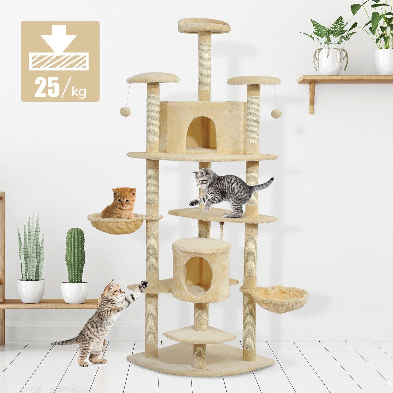 gatos jugando rascador pawhut