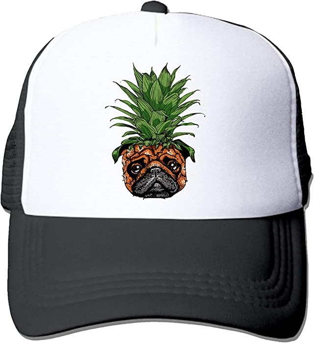 NVJUI JUFOPL Funny Pineapple Pug Unisex Fitted Mesh Hat Baseball Caps Black 23ac077d8af