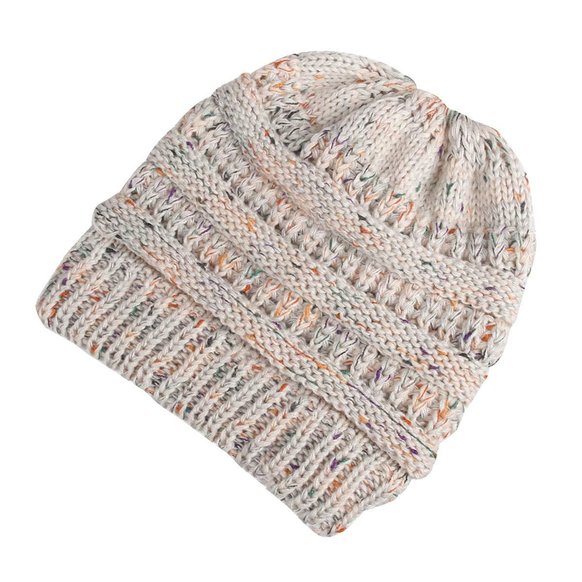 Ehpow Damen Plain Ponytail Messy Bun Gerippte Winter Beanie Hut Cap Hair Hairband