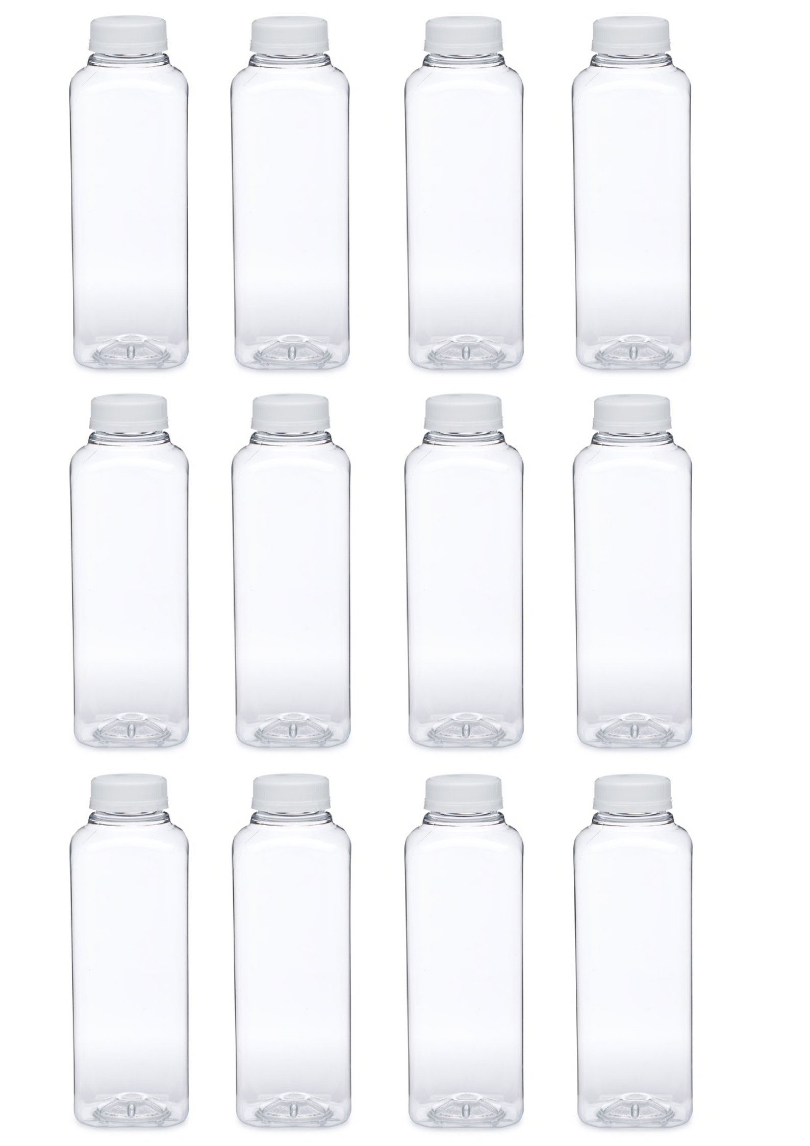 16oz Clear Square PET Plastic Bottles with Tamper Evident Caps, Set of 12 Bottles and 12 caps (white)