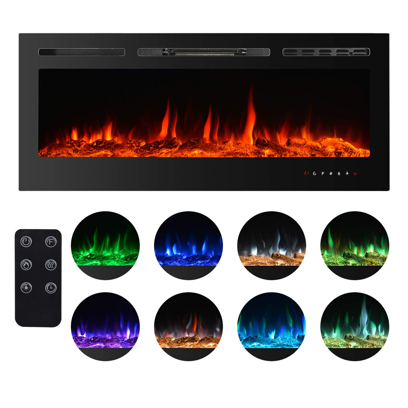 BEAMNOVA 50 Inch Electric Fireplace Black Freestanding Heater Insert Wall Mounted Glass View Log Flame w//Remote