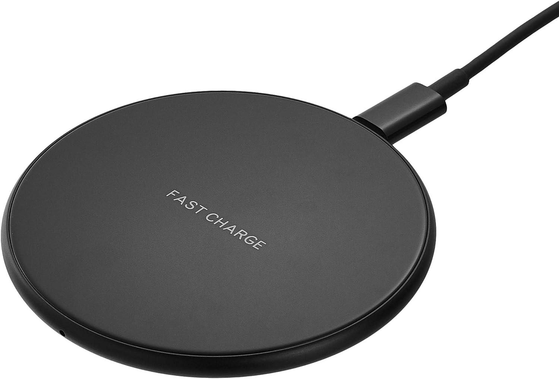AmazonBasics Ultra-Slim 10W Qi Certified Fast Charging Wireless Pad - Black