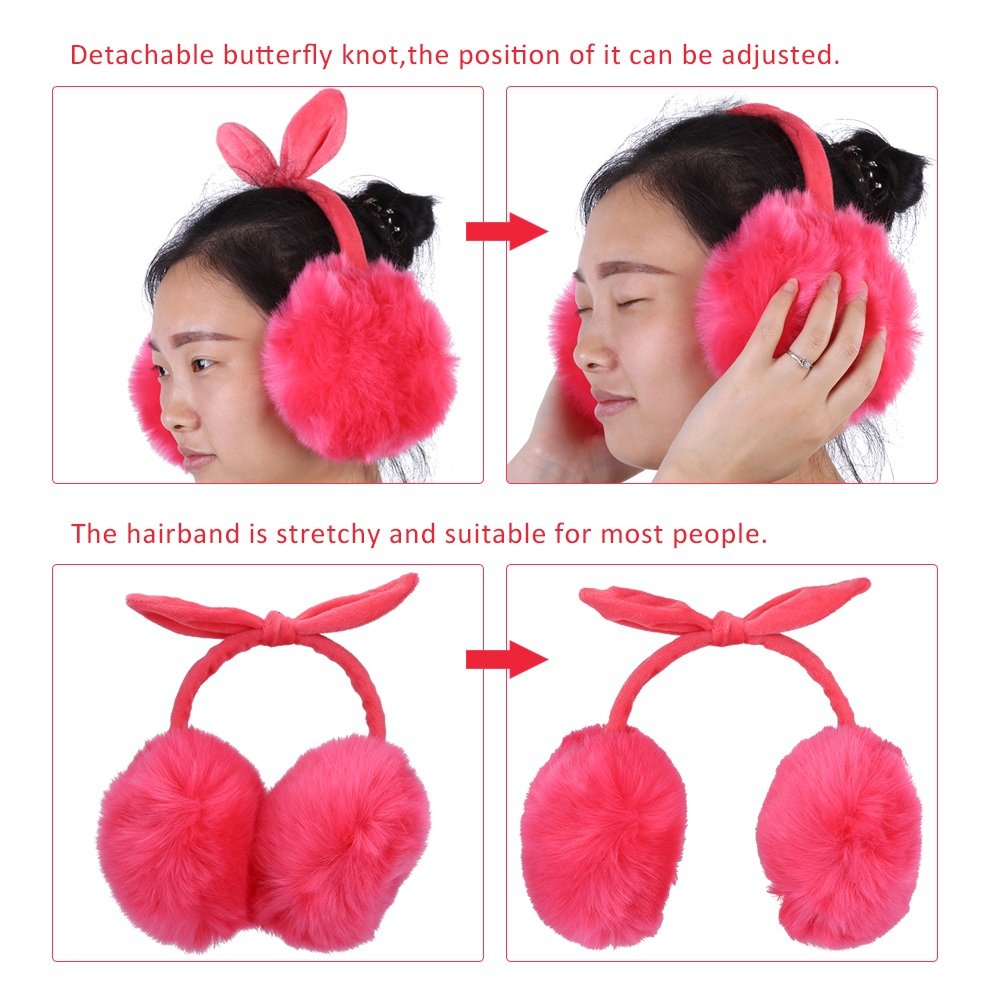 Rabbit Ear Protector with Loop Ear for Girls Ladies Color : Black Warm Earmuffs