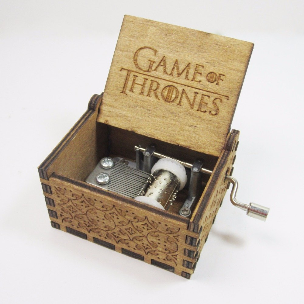 Phoenix Appeal Antique Carved Wooden Music box Hand cranked Music: Game of thrones, Harry Potter, Merry Christmas Theme Gift (Game of Thrones, Wood)
