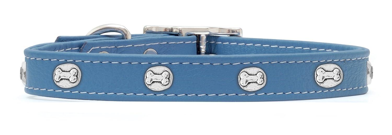 Rockin' doggie Bone Rivets Leather Dog Collar, 3 4 by 14-Inch, bluee