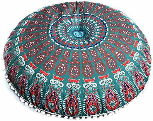Hot Mandala Floor Pillows Round Bohemian Meditation Cushion Cover Ottoman Pouf
