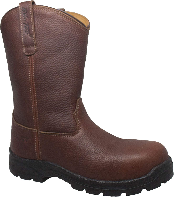 "12"" Wellington Work Boots for Men, Composite Safety Toe, Oil, Acid, Slip Resistant, Full Grain Leather Construction Shoes, Rubber Outsole"