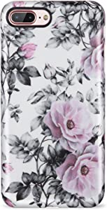 iPhone 7 Plus Case for Women,iPhone 8 Plus Case,LUMARKE Vintage Floral Slim Fit Glossy TPU Cute Clear Bumper Soft Rubber Silicone Thin Protective Phone Case Cover for iPhone 7 Plus iPhone 8 Plus
