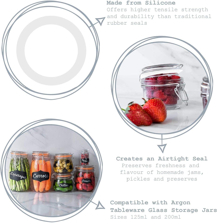 per barattoli per spezie da 125 ml Fino a 200 ml in Silicone Bianco 77 mm 6 Pezzi Argon Tableware Guarnizione ad Anello per barattoli da Cucina