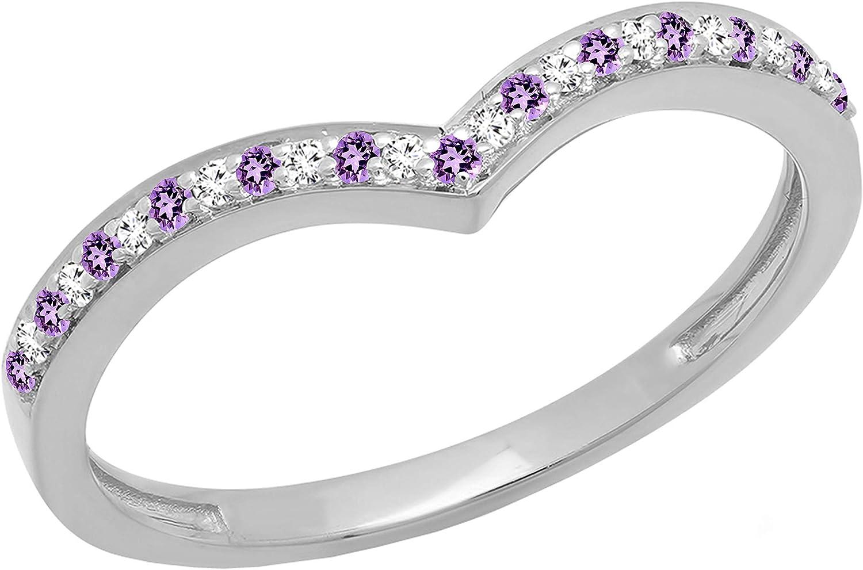 Dazzlingrock Collection 14K Round Gemstone & White Diamond Wedding Stackable Band Anniversary Guard Chevron Ring, White Gold
