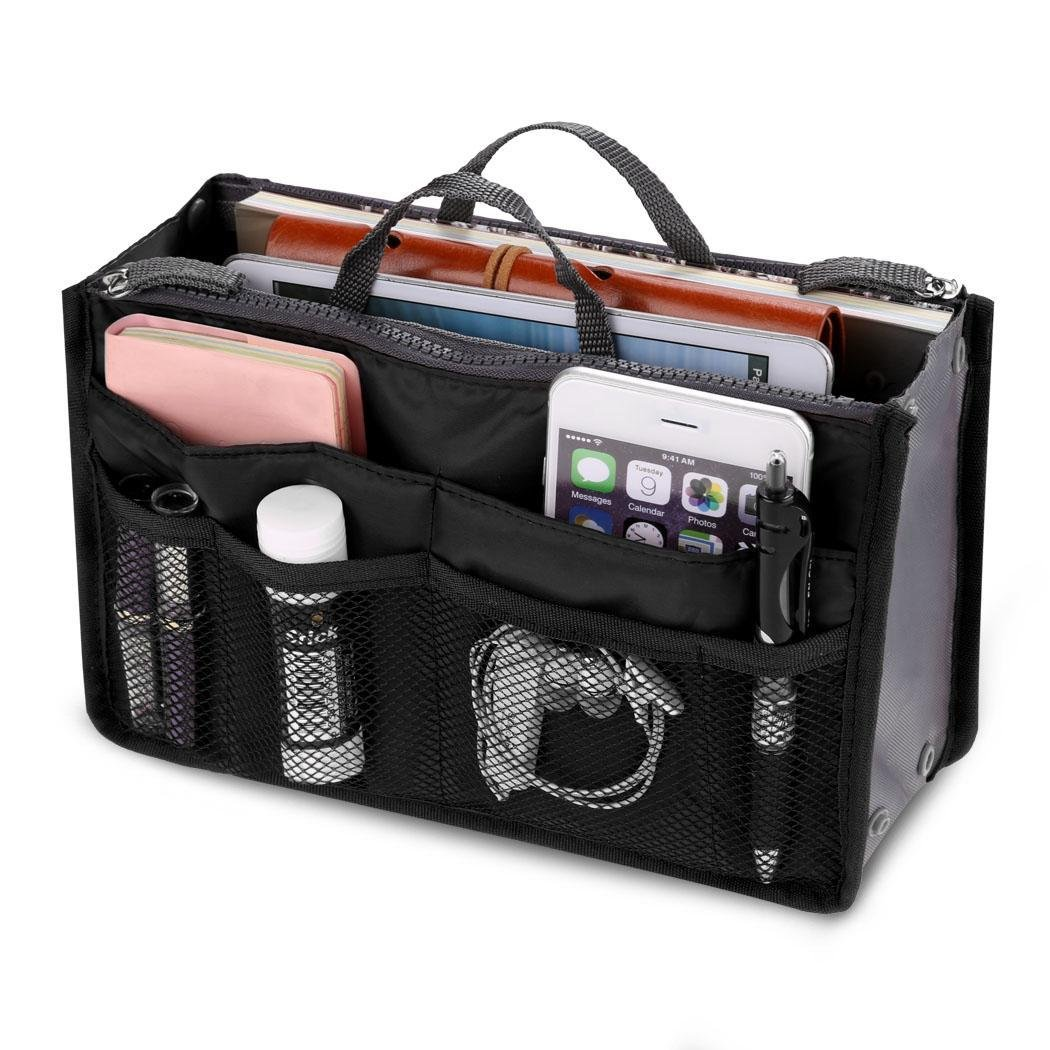 Troll Tree Portable Travel Makeup Bag Multifunction Makeup Train Case Makeup Cosmetic Case Multi-Pocket Insert Handbag with Zipper Handles Insert Pouch Toiletry Organizer