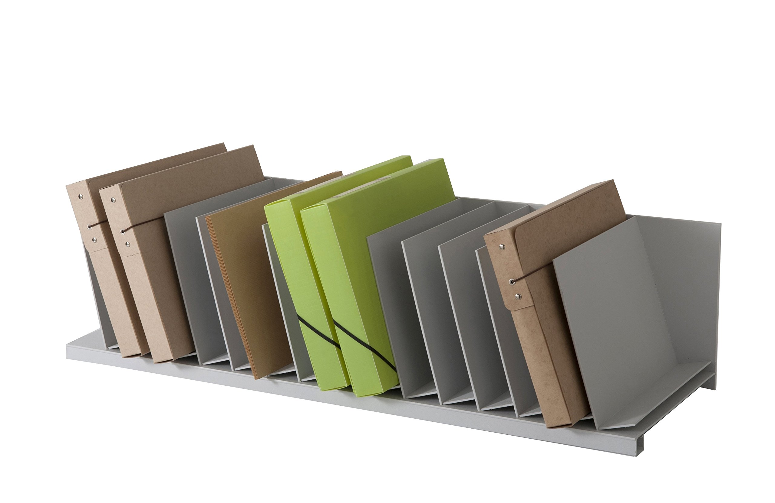 PaperFlow 33-3/4-Inch Easy Office Inclined Vertical Desktop Organizer, 15 Compartments, Grey (4940.02)