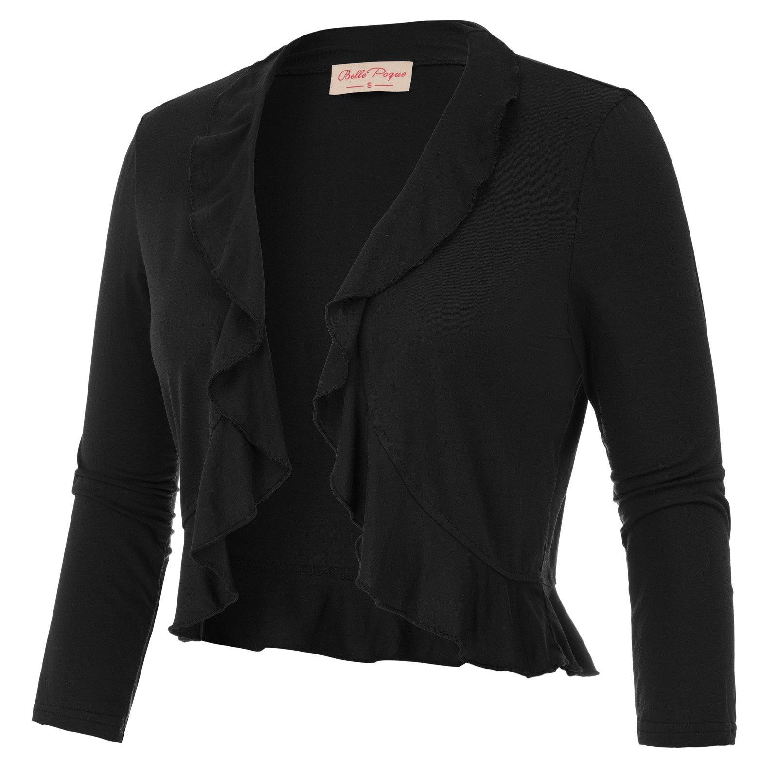 Lady 3/4 Sleeve Ruffle Shrug Bolero Cover-up (S,Black 592)