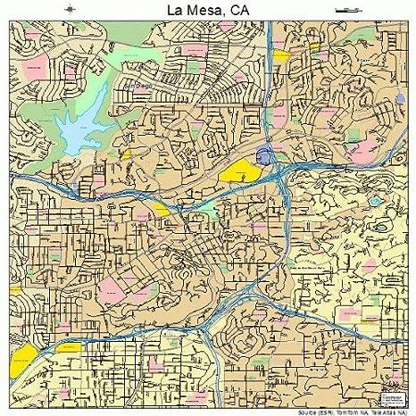 Amazon Com Large Street Road Map Of La Mesa California Ca