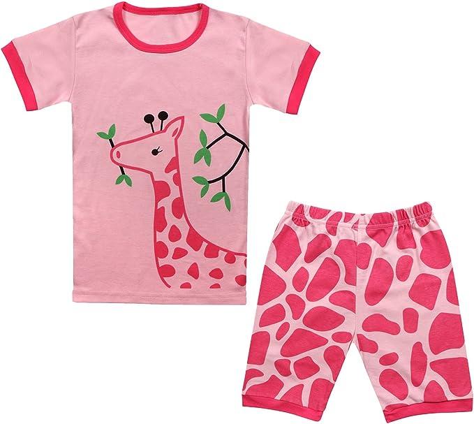 Qtake Fashion Pijama 100% algodón 2 Pieza Pijama para Niña de 2-12 ...