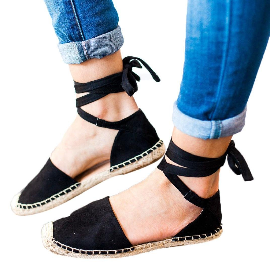 Leedford Women Sandals, Womens Flat Lace-up Espadrilles Summer Chunky Holiday Sandals Shoes Strap Casual Shoes (Black, 41)