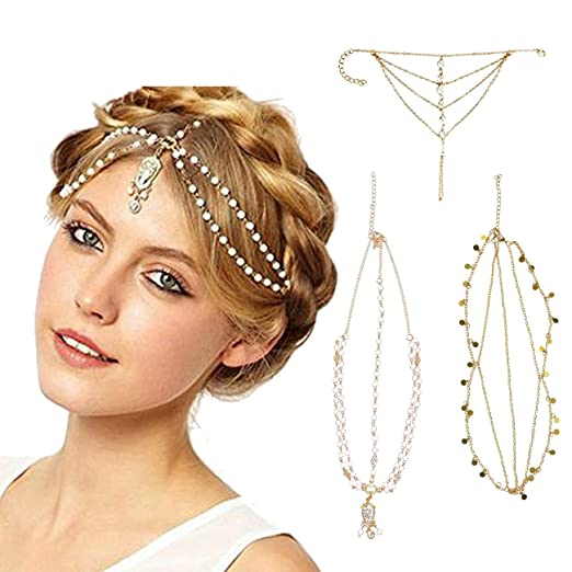 Hippie Hats,  70s Hats DRESHOW Head Chain Hair Accessories Bohemian Diamond Pearl Tassel Hair Band Alice Band Gold Leaf Chain Headband 3 Pack $11.99 AT vintagedancer.com