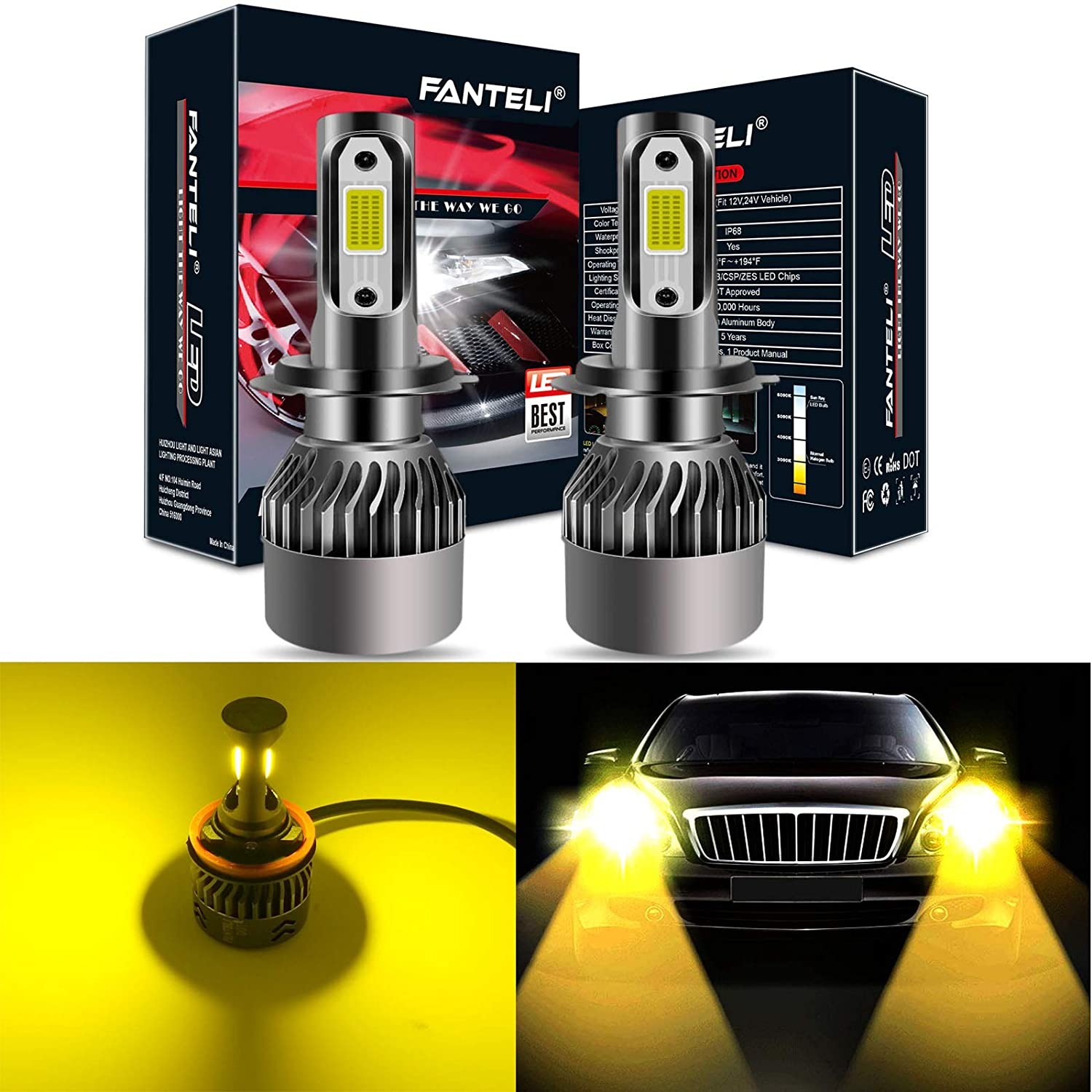 FANTELI H7 3000K Yellow LED Headlight Bulbs All-in-One Conversion Kit 72W 8000LM High Beam//Low Beam//Fog Lights Extremely Bright