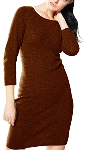 Peach Couture Luxury Holiday Warm and Soft Cashmere Bodycon Sweater Dress