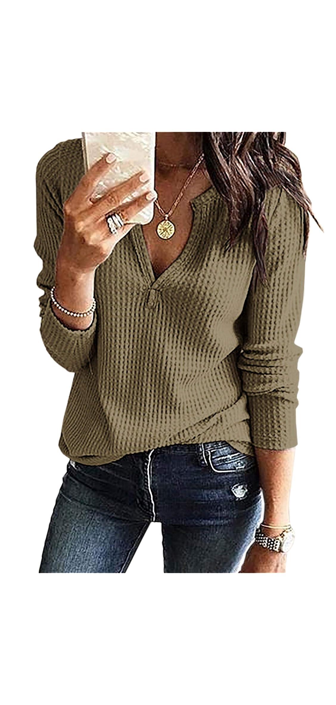 Women's V Neck Henley Shirts Waffle Knit Loose Fitting