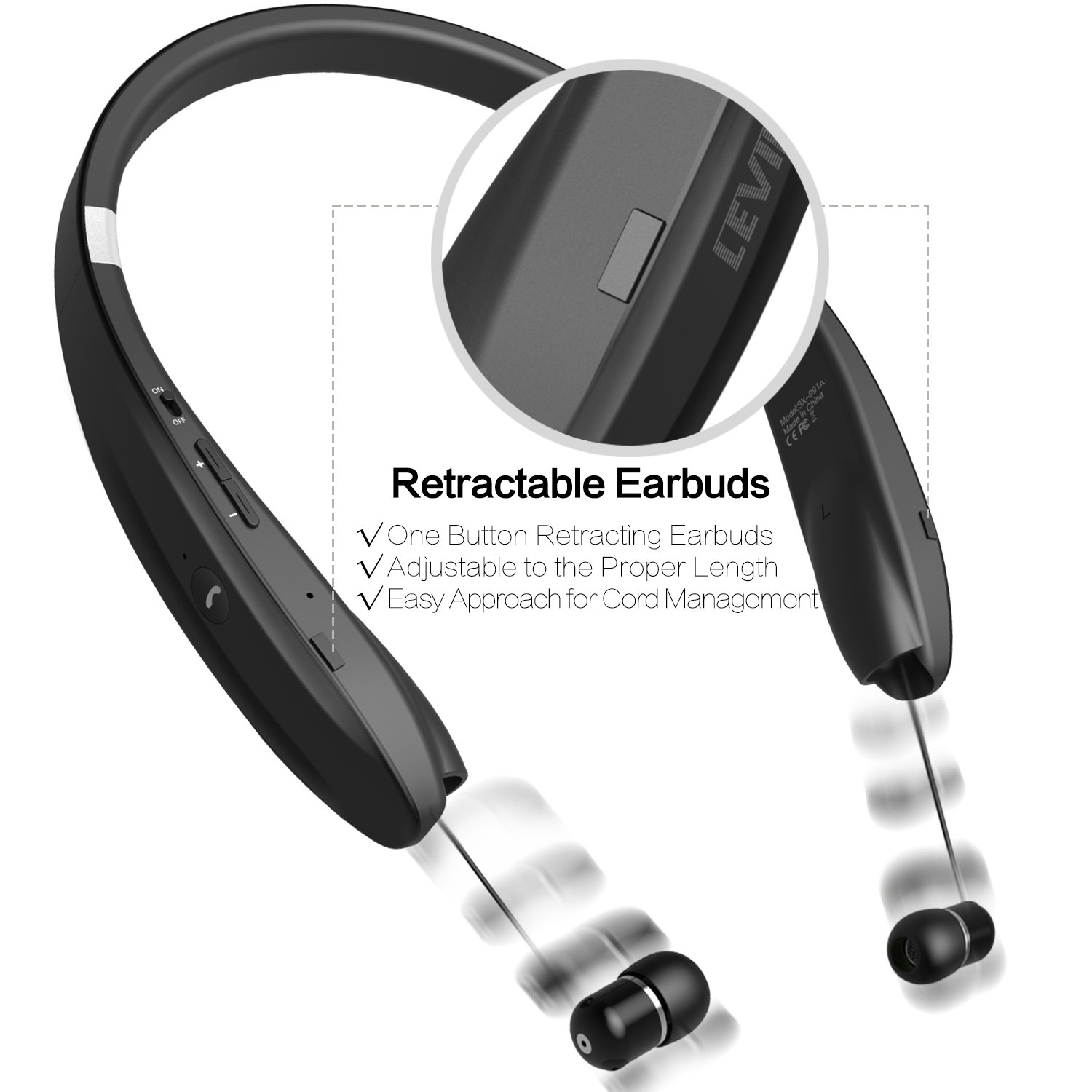 Bluetooth Headset Stereo – Upgraded Bluetooth 4.1 Wireless Headphone with Foldable Neckband Design Retractable Earbuds Compatible for All Cellphones