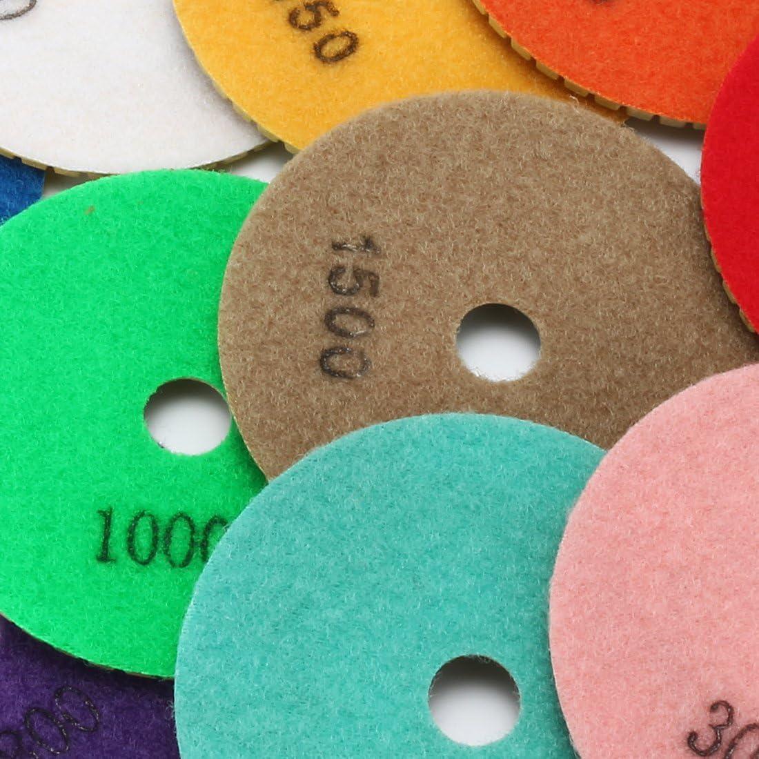 sourcing map 4-inch Diamond Wet Polishing Sanding Grinding Pads Grit 500 10pcs w Rubber Backer Pad