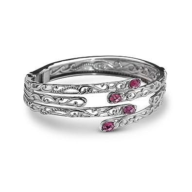 4244edbea37 Carolyn Pollack Sterling Silver Rhodolite Garnet Gemstone Interlocked  Hinged Cuff Bracelet Size Medium