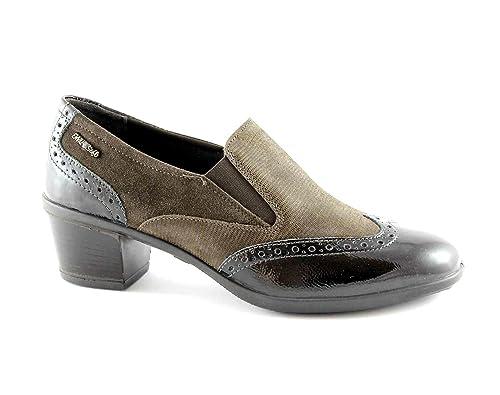 ENVAL SUAVE 69154 café mocasines del dedo del pie zapatos de tacón pintan bordado 38: Amazon.es: Zapatos y complementos