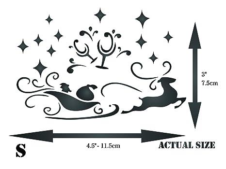 Navidad trineo plantilla - reutilizable tostada cristal Papá Noel reno pared plantillas para pintar - uso en proyectos de papel Scrapbook diario paredes ...