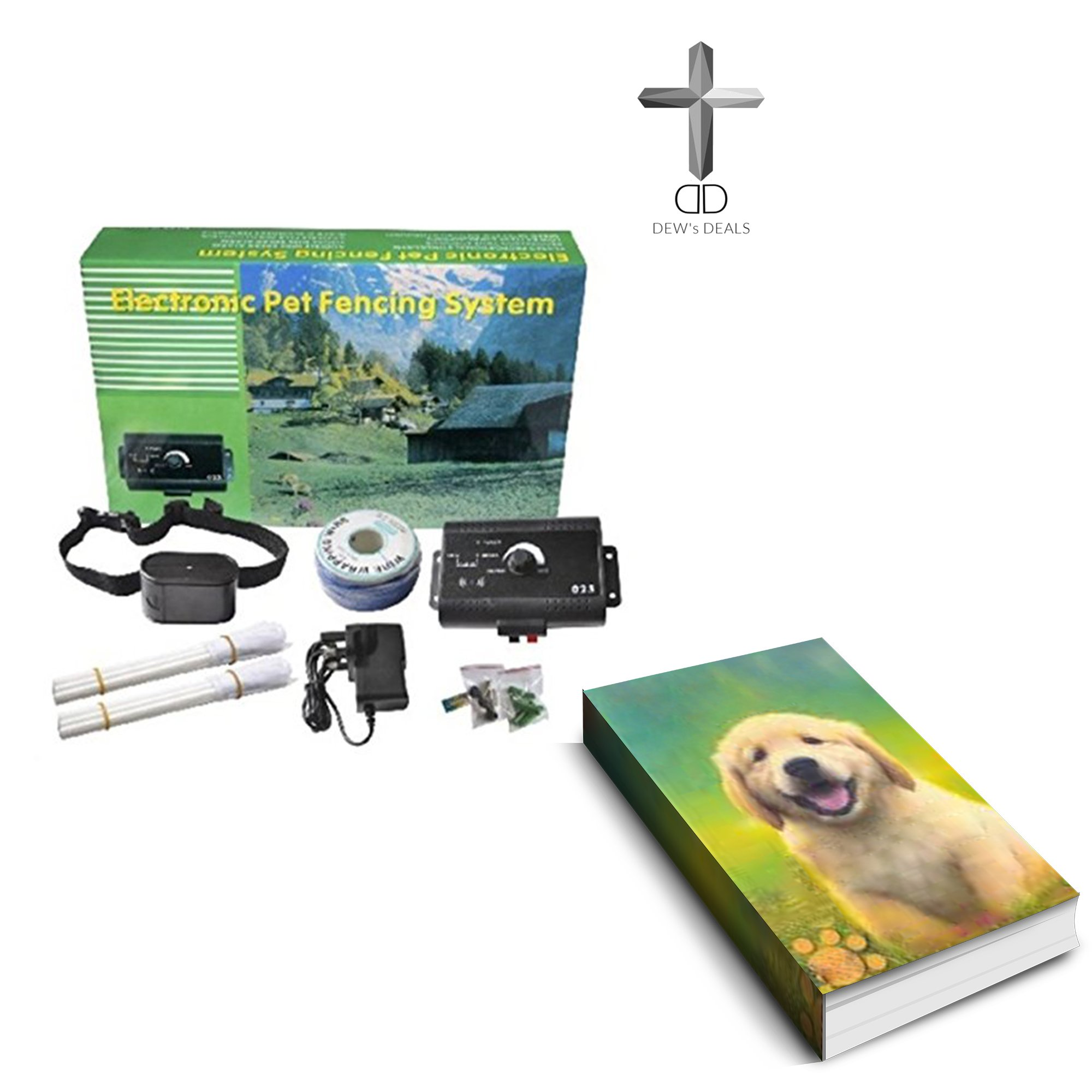 Dual Zone Heavy Duty Electronic Pet Fence 12 Acre Coverage 10 dog capability Free training e book Included.
