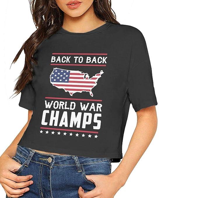 327aafa9 Women's Crop Top, Back-to-Back World War Champs Women Summer Short Sleeve