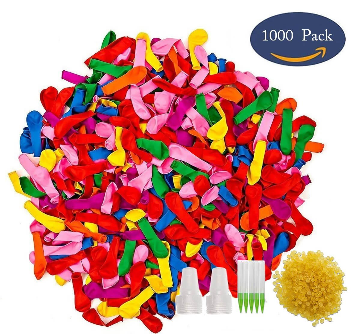 IlikeEC Water Balloon Refill Kit 1000-Pack, Latex Water Bomb Balloons Fight Games, Summer Splash Fun for Kids & Adults