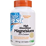 Doctor's Best High Absorption Magnesium with Bioperine (200 mg Elemental), Tablets, 120-Count